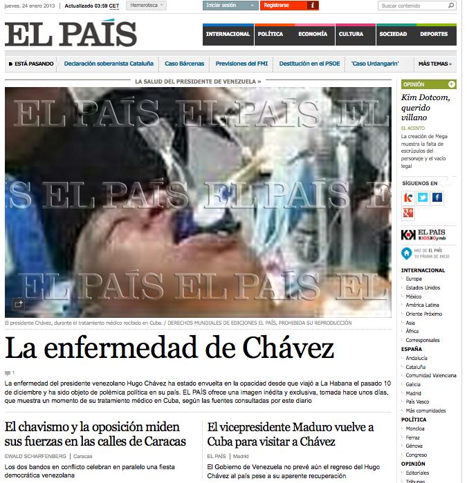 Esta fue la portada web de El País durante 30 minutos en la madrugada